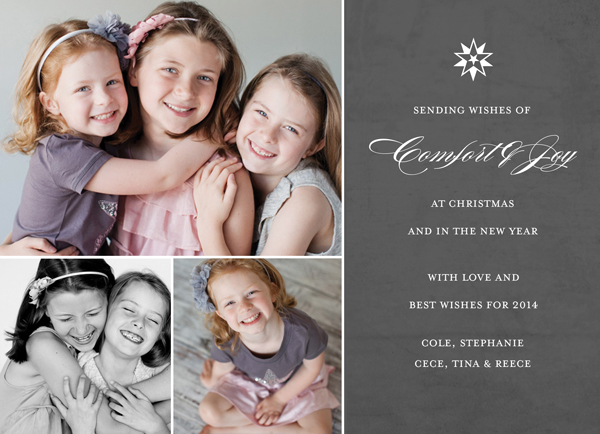 Comfort & Joy holiday greetings and three of your favorite photos are printed on thick stationery-grade cover stock, exclusively at Muddy Paws Graphics.