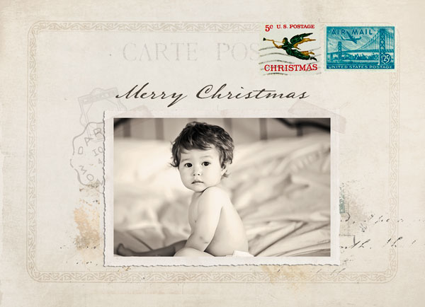 Vintage Christmas postcard features two of your photos,